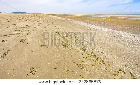 travel to France - sand beach of Le Touquet after ebb tide (Le Touquet-Paris-Plage) on coast of English Channel