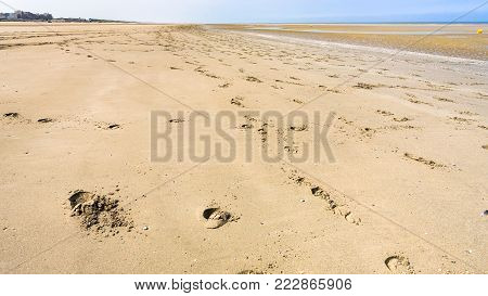 travel to France - footprints in the sand beach of Le Touquet after ebb tide (Le Touquet-Paris-Plage) on coast of English Channel
