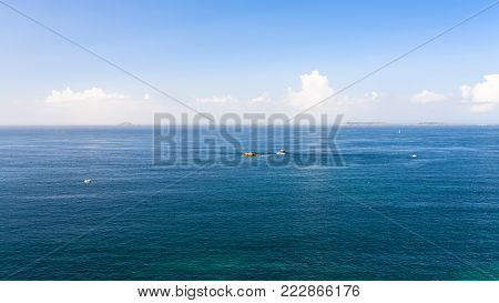 travel to France - view of English Channel from Saint-Guirec area of Perros-Guirec commune on Pink Granite Coast of Cotes-d'Armor department in the north of Brittany in summer morning