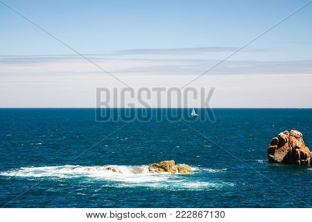 travel to France - view of Atlantic ocean from Ile-de-Brehat island in Cotes-d'Armor department of Brittany in summer sunny day