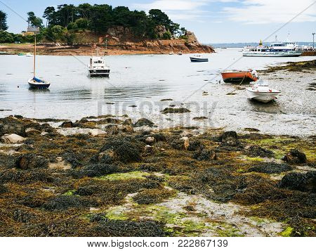 travel to France - ships in Port-Clos harbour of Ile-de-Brehat island in Cotes-d'Armor department of Brittany in during low tide in summer