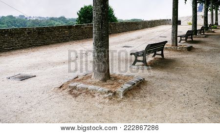 travel to France - belvedere at Promenade de la Duchesse Anne of the Jardin Anglais ( English garden) in Dinan town in rain