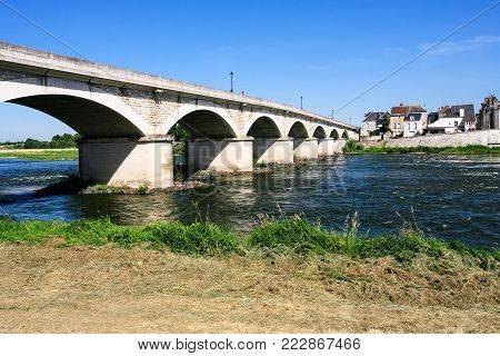 Travel to France - view of bridge Pont du Marechal Leclerc over Loire river in Amboise town in Val de Loire region in sunny summer day