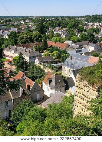 travel to France - above view of Amboise town in Val de Loire region in sunny summer day