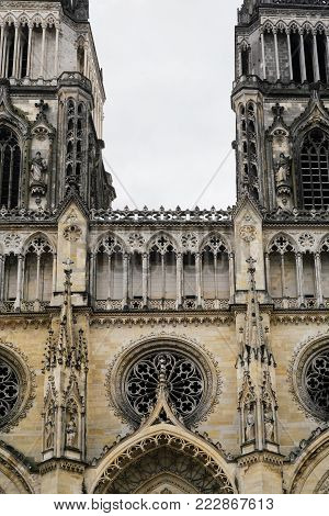 travel to France - facade of Catheral (Basilique Cathedrale Sainte-Croix d'Orleans) in Orleans city