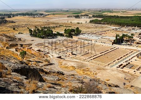 Iran. Persia. Ruins of Persepolis. Ancient Achaemenid kingdom. View from above.