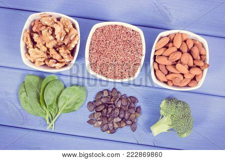 Vintage photo, Food containing omega 3 acids, natural minerals and fiber, healthy nutrition and acid diet concept