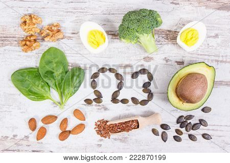 Ingredients containing omega 3 acids, unsaturated fats and dietary fiber, healthy nutrition, lifestyle and acid diet concept