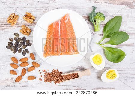 Fresh food containing omega 3 acids, natural minerals and dietary fiber, healthy nutrition and acid diet concept