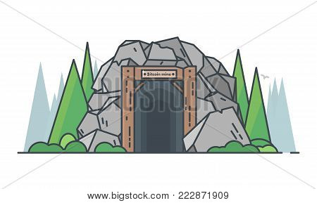 Bitcoin and cryptocurrency line concept. Old mine entrance with big granite rocks and green trees. Nature background. Mining business. Modern line vector illustration.