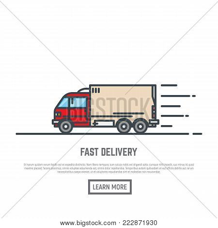 Delivery truck or van line vector illustration. Fast bus or auto motor vehicle concept. Moving company service. Courier in time delivery.