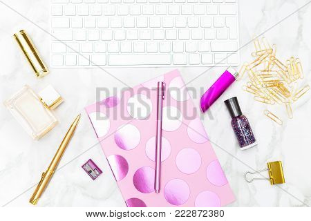 Feminine gold and pink office styled stock. Flat lay