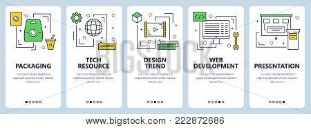Vector set of vertical banners with Packaging, Tech resource, Design trend, Web development, Presentation concept website templates. Modern thin line flat style design elements for web, print.