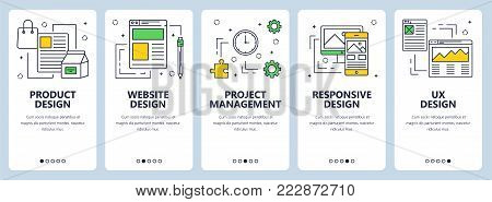 Vector set of vertical banners with Product design, website design, Project management, Responsive design and ux design concept website templates. Modern thin line flat elements for web, print.