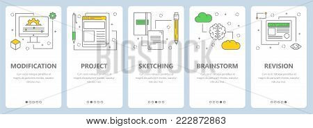 Vector set of vertical banners with Modification, Project, Sketching, Brainstorm and Revision concept web templates. Modern thin line art style design elements, symbols, icons for website menu, print.