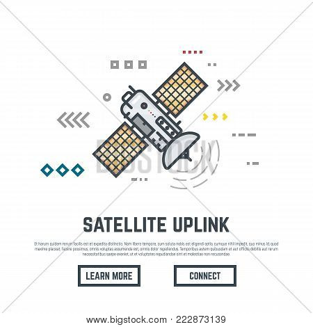 Earth orbital satellite network provider banner. Line style abstract placard with lines and dots. Communication satellite with solar panels and dish with antena.