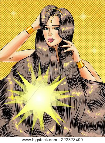 Vector illustration of beautiful woman with long glossy shiny hair. Sexy pin-up girl in retro pop art comic style.