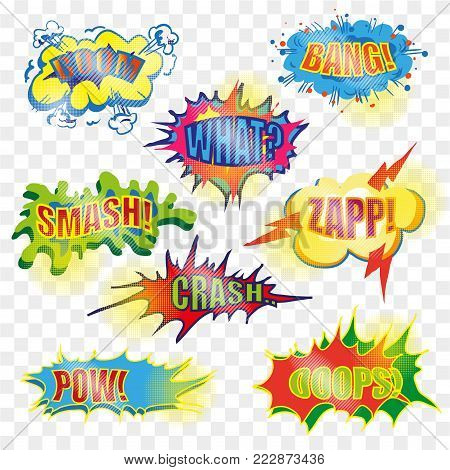 Vector vintage pop art comic spiky shape, speech and explosion bubble set with fashion phrases and expressions Bang, Zap, Boom, Smash, Crash, etc. Comic book sound effects on transparent background.