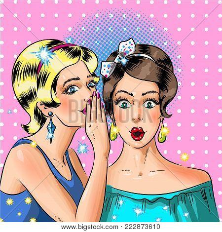 Woman whispering secret to her friend vector illustration in pop art retro comic style. Women gossip concept.