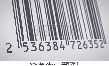 close-up view of a barcode label (3d render)