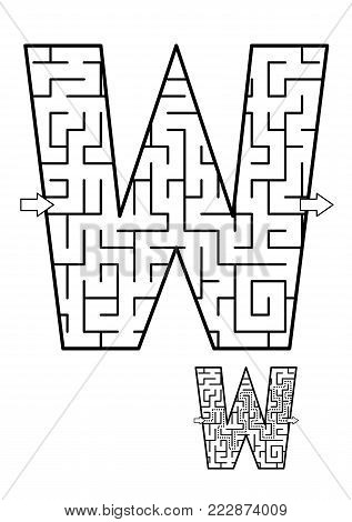 Alphabet  learning fun and educational activity for kids - letter W maze game. Answer included.