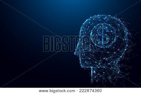 Abstract Head and Money dollar sign form lines and triangles, point connecting network on blue background. Illustration vector