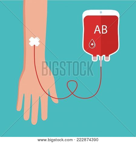 vector clipart Blood transfusion on a blue background