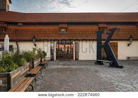 Prague, Czech Republic - December 2017: Franz Kafka Museum entrance. Franz Kafka Museum is one of the popular tourist destinations in Prague.