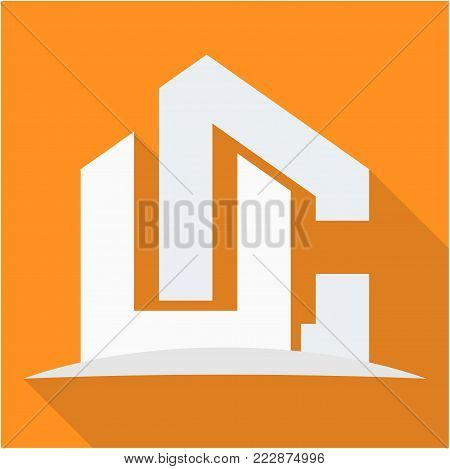 icon logo for the construction business, with combination of the initials U & C
