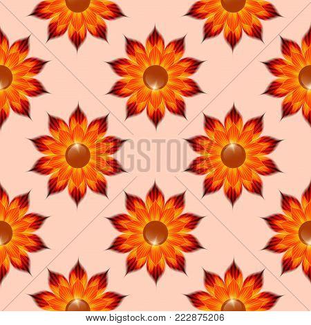 Seamless regular pattern with floral design. Orange fantasy flower. Floral background for printing.