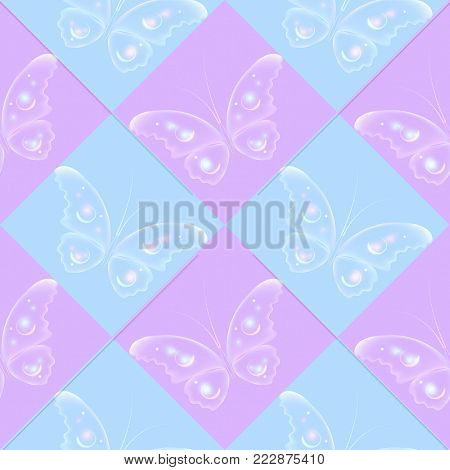 Seamless pattern with color butterflies, Beautiful background in romantic style..Easter theme in blue and purple color.