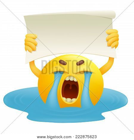 Tearful smiley yellow round face with paper banner in hands. Vector illustration