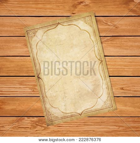 Old grungy papyrus with curly oriental ornamental frame on rustic wooden background. Worn template for mail, aged letter paper with space for text or image. Vector illustration, border, template.