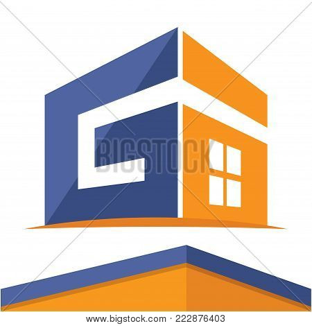 Icon logo for the construction business with the initials of the letter G, design & color in flat design style.
