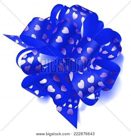 Big Horizontal Bow Made Of Ribbon In Polka Dots