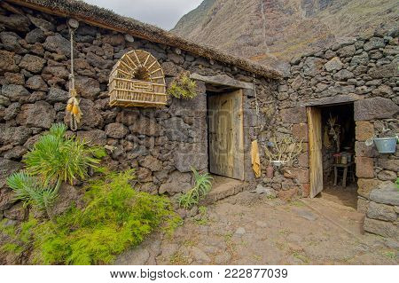 Exterior of Abandoned Stone Made Houses In a Medieval Village El Hierro Island Spain
