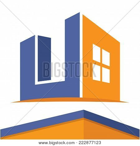 Icon logo for the construction business with the initials of the letter U, design & color in flat design style.