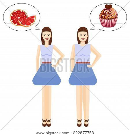 Diet. Choice of girls favorite healthy and unhealthy food. Two body women types overweight and slim. Weight loss before and after illustration.