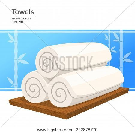 Three white rolled towels on wooden plate. Vector illustration