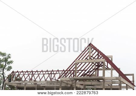 Structural steel roof beam of building residential construction isolated on white background.