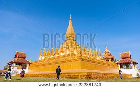 VIENTIANE, LAOS - JANUARY 19, 2018: Wat Phra That Luang, One of the Most Sacred Temples in Vientiane,Religious architecture and landmarks of Vientiane, Laos