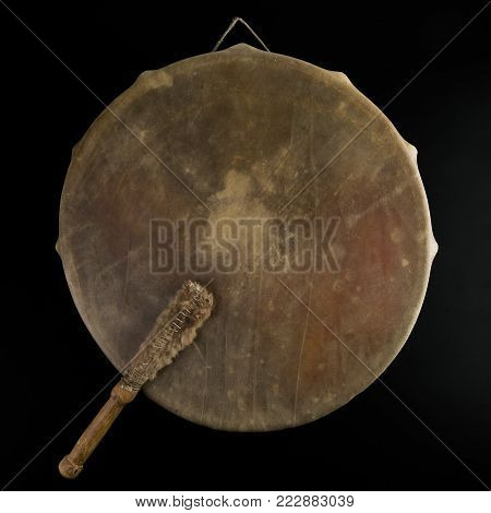 Beautiful copy of old vintage indian tambourine buben drum with drumstick