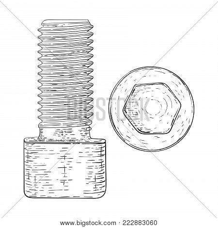 Metal bolt with hex socket. Hand drawn sketch. Vector illustration isolated on white background