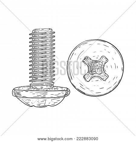 Metal bolt with phillips head drive. Hand drawn sketch. Vector illustration isolated on white background