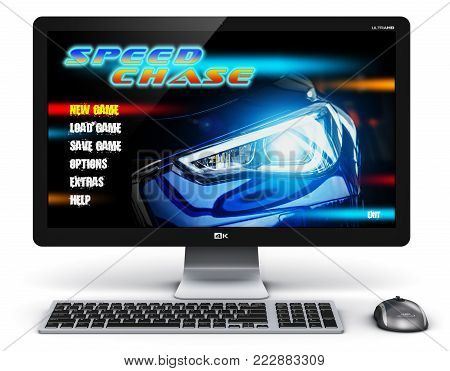 Creative abstract computer gaming and entertainment technology concept: 3D render illustration of modern black gamer desktop PC with video game isolated on white background