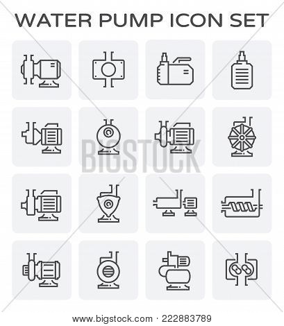 Electric water pump and steel pipe icon set.