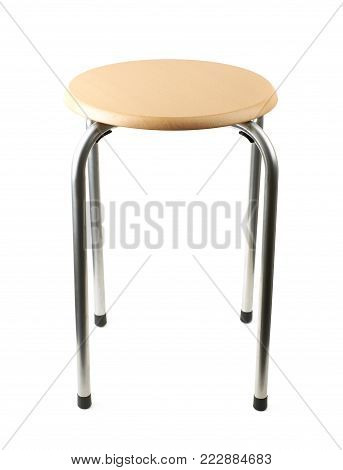 Wooden and metal stool isolated over the white background