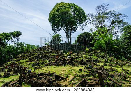 Gunung Padang Megalithic Site in Cianjur, West Java, Indonesia. Gunung Padang is the largest megalithic site in all of Southeastern Asia.
