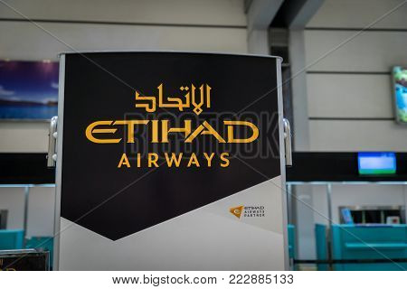 Kuala Lumpur, Malaysia -November 2017: Etihad Airways at Jakarta Soekarno Hatta Airport. Etihad Airways is a flag carrier and the second-largest airline of the UAE.