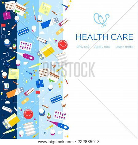 Health Care Medical Background. Medicine Insurance Health Check Concept. Healthcare Protection Resea